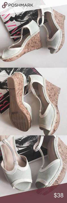 """Tommy Hilfiger Wedge Sandals 🌸 Tommy Hilfiger Wedge Sandals 🌸 Never worn, just worn around the store. Wedge heel with canvas upper. Light green aqua color on the upper with white trim. 3.5-4"""" heel. Peep toe sandal. Ankle strap with buckle closure. Tommy Hilfiger Shoes Wedges"""