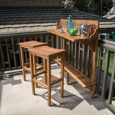 Caribbean Acacia Wood Patio Bar Set - Natural - Christopher Knight Home : Target Patio Bar Table, Porch Bar, Deck Bar, Patio Bar Stools, Patio Dining, A Table, Dining Set, Diy Outdoor Bar, Outdoor Balcony