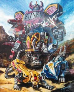 Dino Megazord and Dinozord Artwork