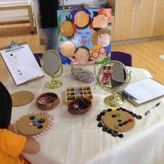 The above invitation to learn, includes circular bases which act as a canvas for creating self-portraits out of loose-parts. Wooden bowls ;buttons, gems, yarn and beads, and mirrors ( look closely at the various features of their faces.}