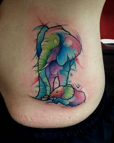 Elephant watercolor Tattoo  By Juan David Castro R