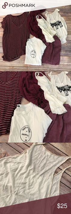 Brandy Melville bundle preowned Bundle deal! As is! Flaws shown on last two pictures the others don't have flaws ! Brandy Melville Tops Blouses