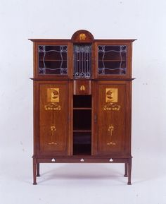 "Wylie & Lochhead (Attributed) - China Cabinet.  Mahogany with Inlays. Circa 1900.  66"" x 24.5"" x 20"" (168cm x 116cm, &  51cm)."