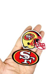 sew on only Vintage 1970s San Francisco SF 49ers 3 inch 1-Bar Helmet Patch