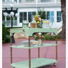 Drinks cart repainted ~~~~~ should be easy to find one of these old carts for very cheap in thrift shops
