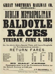 1884 Baldoyle Races Horse Racing Betting Tips, Letterpress, Dublin, Old Photos, Ireland, Seafarer, Britain, Photographs, Doodles