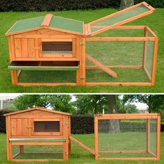 Pawhut Outdoor Guinea Pig Pet House and Rabbit Hutch Habitat with Run