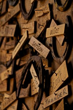 Awesome idea !! Every horses name pined to the wall that's been kept at that barn :) so cool!