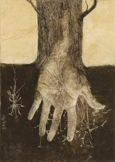 """Semillas de Futuro"" by Santiago Caruso [about the immigrants in Argentina] Caras y Caretas mag, 2009 / Ink & scratch over plastered paper / 2009 Illustrations, Illustration Art, Life Symbol, Hand Art, Tree Art, Tree Of Life, Natural World, Printmaking, Book Art"