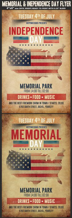 Memorial / Independence Day #Flyer Template - Holidays #Events Download here: https://graphicriver.net/item/memorial-independence-day-flyer-template/20133788?ref=alena994