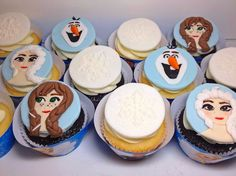 Frozen Cupcake toppers. Edible fondant Anna, Elsa, Olaf and snowflake toppers.