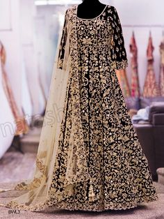 #Designer Anarkali #Black & Beige #Indian Wear #Desi Fashion #Natasha Couture #Indian Ethnic Wear # Salwar Kameez #Indian Suit