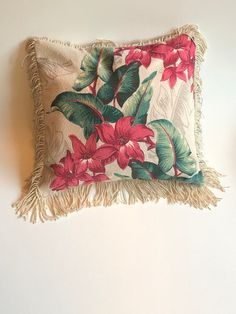 Excited to share this item from my #etsy shop: Bark cloth pillow, vintage fabric tropical floral Hawaiian, decorative cushion,