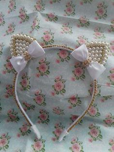 The world's catalog of creative ideas Cat Ears Headband, Diy Headband, Ear Headbands, Headband Hairstyles, Diy Hairstyles, Diy Ribbon, Diy Hair Accessories, Hair Pieces, Hair Bows