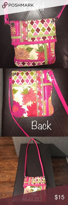 """Vera Bradley Crossbody Purse Flipster Hipster So cute! I couldn't get the colors to show up as beautiful on camera as they are in person. Authentic Vera Bradley Fold Over 'Flipster Hipster' Crossbody Purse best-seller, retired 'Hello Dahlia' pattern. Hot Pink long 24"""" strap, Hot Pink and Lime Green Accents throughout are in perfect shape. Pocket on the back and the entire height of the purse is open for inside storage. The only flaw (in 4th pic) is the slight tear where the magnet came out…"""