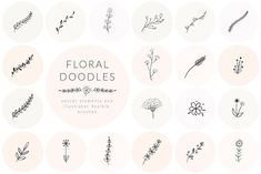 Hand Drawn Floral Doodles by Olya.Creative on This collection is a little bit special! Filled with a lovely hand drawn floral doodle illustrations, it will give you lots of inspiration for your future branding projects. 100 Logo, Vector Brush, Floral Doodle, Floral Design, Graphic Design, Illustration Art, Doodle Illustrations, Wedding Invitation Templates, Logo Templates