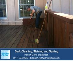 http://branson.renewcrewclean.com – After cleaning, a Renew Crew of Branson technician applies a stain and sealant to protect the wood deck from the elements. Deck stains are available in many colors. We serve Branson and surrounding areas. Free estimates.