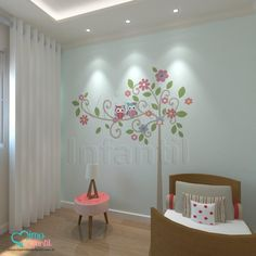 Adesivos para quarto de bebê Árvore Sabedoria Clara | Corujinhas, corujas, árvores, flores, folhas, galhos