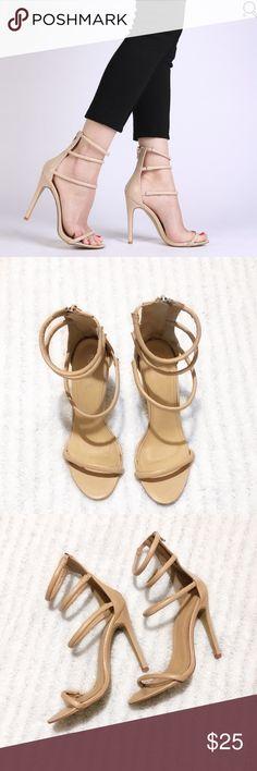 Public Desire Nude Nikki Strappy Stilettos Public desire nikki strappy stilettos in nude. Public Desire Shoes Heels
