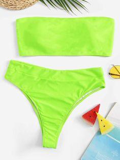 Shop Plus Neon Lime Bandeau With High Leg Bikini online. SheIn offers Plus Neon Lime Bandeau With High Leg Bikini & more to fit your fashionable needs. Plus Size Bikini Bottoms, Women's Plus Size Swimwear, Trendy Swimwear, One Piece Swimwear, Curvy Swimwear, Curvy Bikini, Sexy Bikini, Mode Du Bikini, Neon Bikinis