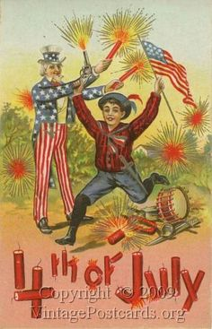 Happy Fourth of July to our readers! July Fourth, with its patriotic images of Uncle Sam and Lady Liberty, and the holiday's association with fireworks, led to fanciful, festive postcards with splendid graphics at the turn of the century. Vintage Cards, Vintage Postcards, Vintage Images, Vintage Clip, Vintage Banner, Vintage Ephemera, Vintage Stuff, Yankee Doodle Dandy, July Images