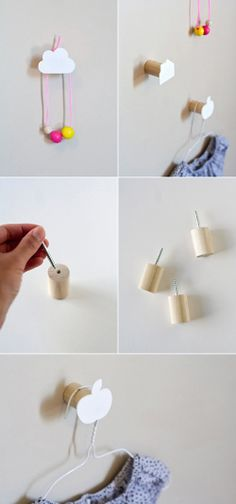 DIY Wall Hooks by Ambrosia Creative. Not really a tutorial. Use wooden dowel wall hooks, either pre made or make your own as seen here, then make DIY funky ends with shrink plastic. Diy Wall Hooks, Decorative Wall Hooks, Diy Hangers, Broom Hanger, Entryway Hooks, Wall Hanger, Diy Wand, Diy Projects To Try, Craft Projects