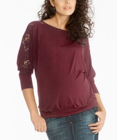 Another great find on #zulily! Wine Ayron Maternity Dolman Top #zulilyfinds