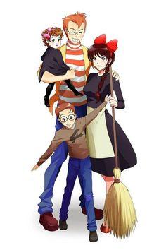 Ghibli Studio, Kiki Delivery,  Tombo, Kiki & Child!!
