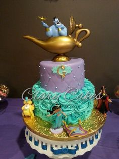 Vanilla cake with vanilla buttercream rosettes and purple quilted fondant with edible pearls. Jasmine Birthday Cake, Aladdin Birthday Party, Aladdin Party, 5th Birthday, Birthday Ideas, Crazy Cakes, Jasmine E Aladdin, Princess Jasmine Cake, Jasmin Party