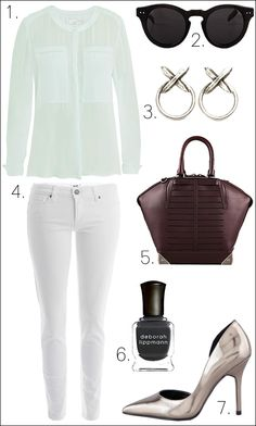 OUTFIT COLLAGE MINT ALC  MOLLY SHIRT HOUSE OF HARLOW SUNGLASSES LUV AJ CROSS EARRINGS WHITE PAIGE DENIM SKINNY EMILE BURGUNDY ALEXANDER WANG TOTE SILVER MIRRORED PUMPS BOUTIQUE 9 METALLIC