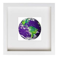 Earth From Space (Purple) Framed Nature Themed Art Print