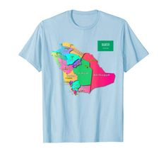Kingdom of Saudi Arabia map regions and capitals names T-Shirt Capital Name, States And Capitals, Shirt Price, Saudi Arabia, Branded T Shirts, Fashion Brands, Names, Map, Amazon