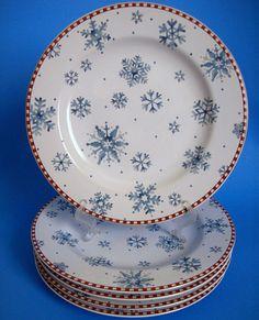 Set Of 5 Sakura Debbie Mumm Snowflake Salad Dessert Plates 8 Inch Christmas #DebbieMumm & Sakura Debbie Mumm Snowman Set of 4 Christmas Dinner Plates