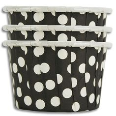Black Polka Dot Nut Cups from Layer Cake Shop!  Perfect for small portion snacks, or even baking cupcakes!  More colors and sizes available here: http://www.layercakeshop.com/collections/party-treat-cups
