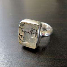 Frozen Frost Branches Ring - Dendritic Quartz Ring set in Sterling Silver on Etsy, $155.23 AUD