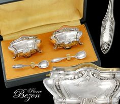 Boxed French Sterling Silver Open Salt Cellars and Spoons #PierreBezon