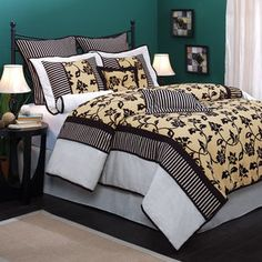 Rhapsody 7-Piece Bedding Comforter Set, Black/White/Tan