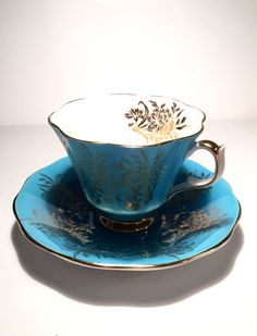 Queen Anne Tea Cup and Saucer Blue Tea cup Turquoise Teacup