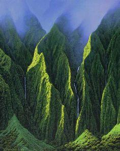 Koolau Mountains in Oahu, Hawaii.