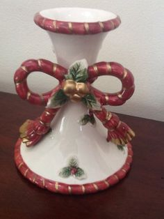 2 Fitz and Floyd Christmas Florentine Candlesticks Bow Candle Holder 1994 - Pair #FitzandFloyd