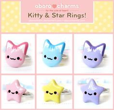 Kitty and Star Rings by Oborochann.deviantart.com on @deviantART