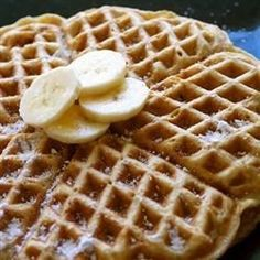 """Banana Waffles Recipe - """"The most delicious waffles! Usually served as a snack or dessert. Also try them with Korean red bean paste instead of the banana, it's even better! I remember eating these while visiting Korea, and recreated the taste at home."""" Fruit-filled waffles for the win! Try adding in cinnamon or nutmeg for an extra festive holiday breakfast."""