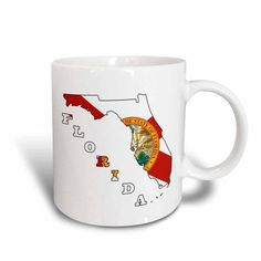 3dRose Florida state flag in the outline map and letters of Florida, Ceramic Mug, 11-ounce