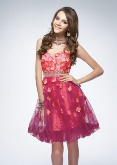 New Arrival Charming Elegant A-line Sweetheart Strapless Applique Rhinestone Short Cheap Red Homecoming Dresses HD-1104