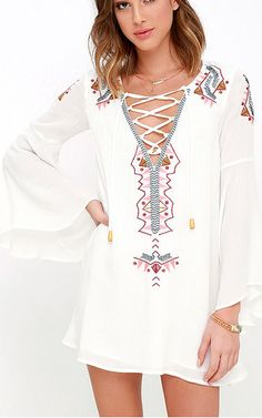 My Bell-Loved Ivory Embroidered Shift Dress via @bestchicfashion