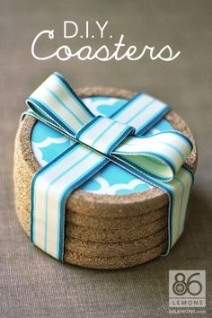 DIY Cork Coasters Decorated With Contact Paper | Shelterness