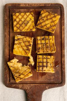 Grilled Polenta by Saveur. Polenta is a popular dish in Venice, and is often served grilled as a side, though you can also eat it without grilling it, if you like. Vegetarian Grilling, Grilling Recipes, Vegetarian Recipes, Cooking Recipes, Healthy Grilling, Vegetarian Options, Barbecue Recipes, Barbecue Sauce, Vegan Vegetarian