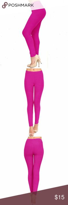 "(Plus) Curvy Solid Magenta Pink Brushed Leggings Peach skin solid brushed full leggings. Burgundy Red. High-waist with 1"" Wide elastic waistband. Very soft. Great to wear dressed up with heels or casual with tennis shoes. Mauve tone to demonstrate fit and texture. New in package.  92% Polyester 8% Span  L 37"" I 27"" R 10. Fits XL to 3X (14-22) comfortably. One size BohoBeauRoseBoutique Pants Leggings"