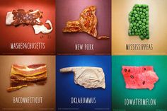 Oklahummus! Alahama! New Pork! < All 50 states reimagined food puns. You have to admit, some of these are pretty clever.