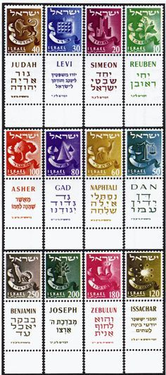 12 original tribes of israel written in hebrew | Israeli Stamps showing symbols of the 12 Tribes